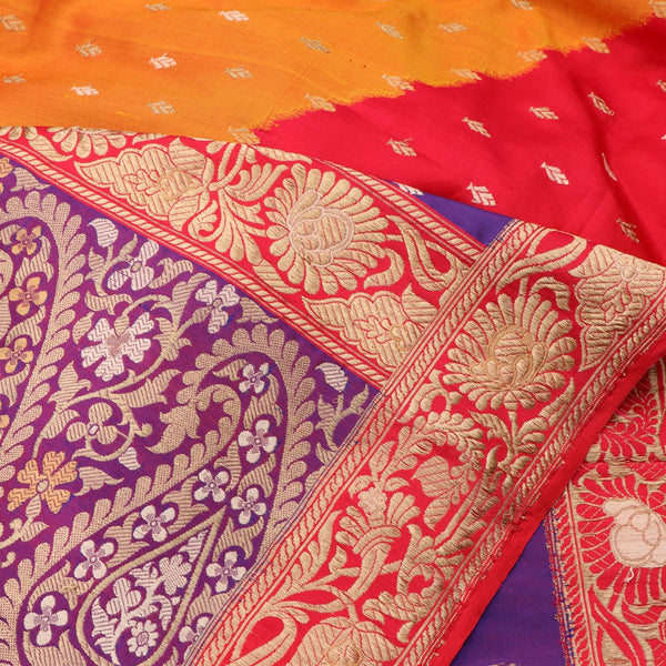 Handwoven Multicolour Banarasi Silk Sari - WIIBT0038 - Fabric View