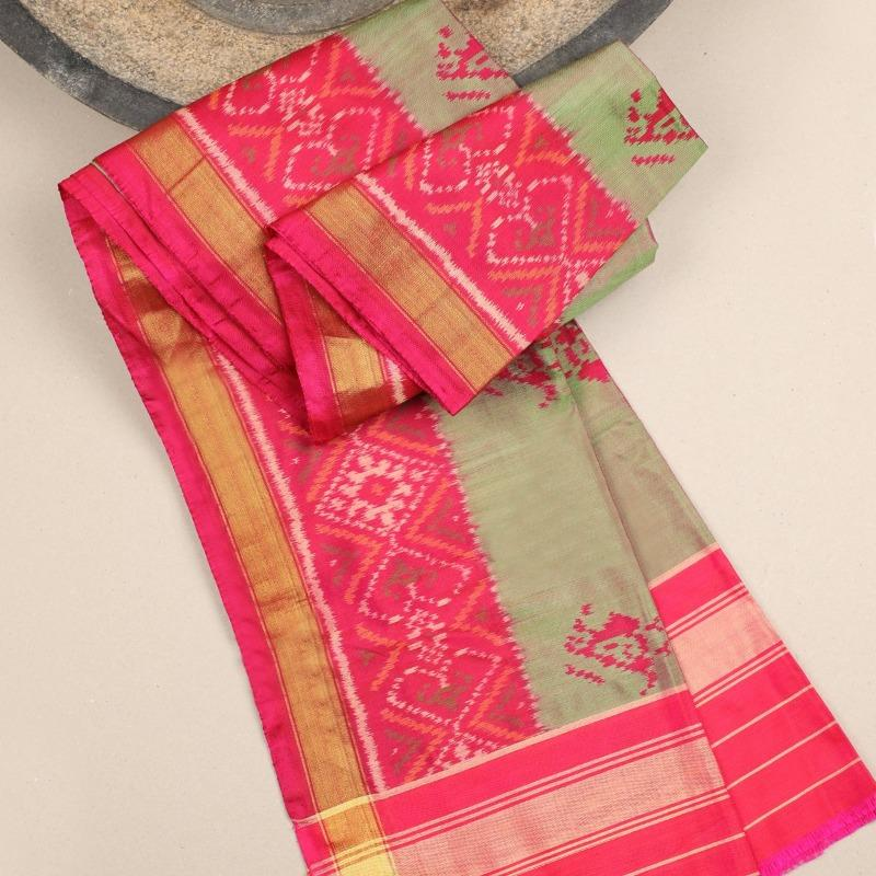 Green Single Ikat Dupatta - WeaveinIndia