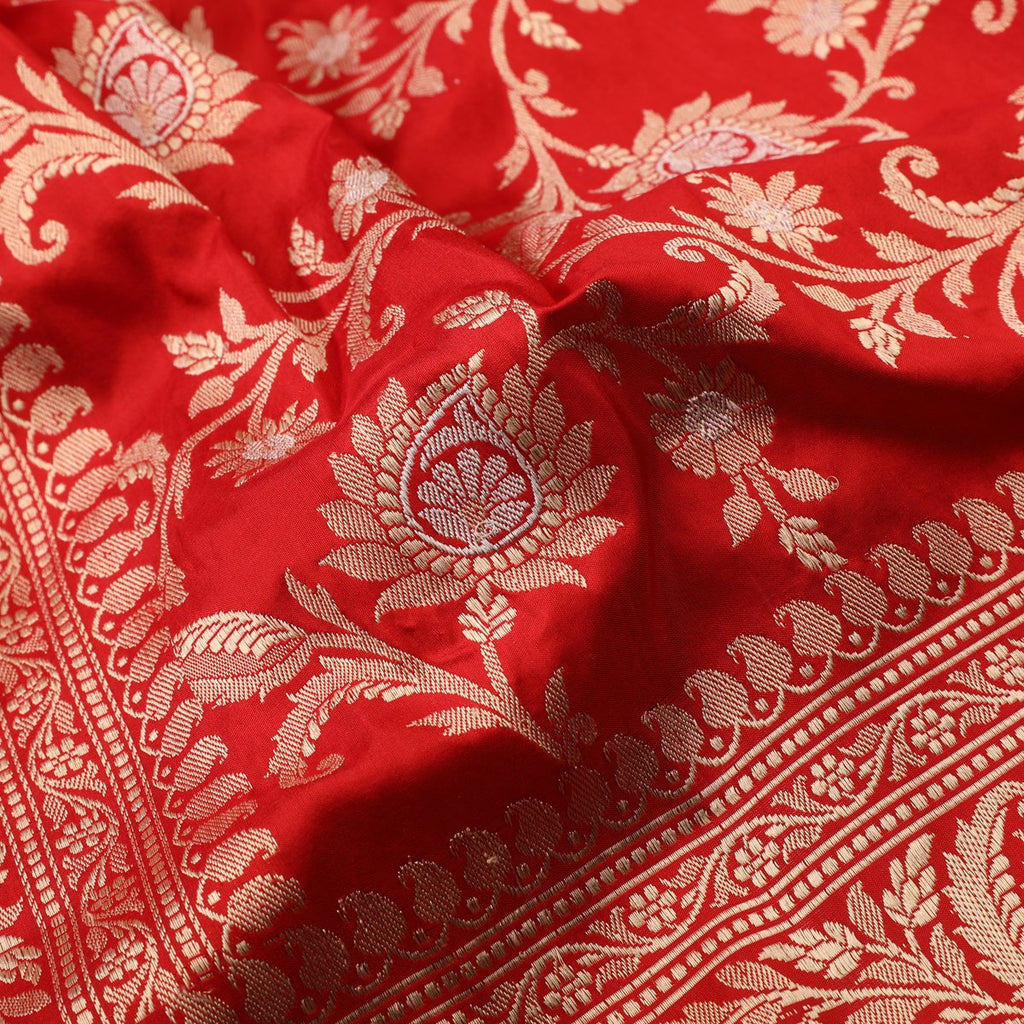 Handwoven Chilli Red Banarasi Silk Sari - PREBAN002 - Fabric View