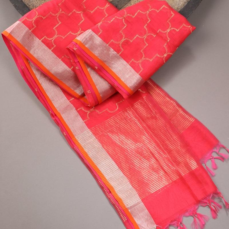 Handwoven Coral Pink Silk Cotton Chanderi Dupatta - WIIAPRI CFJD 004 - Cover View