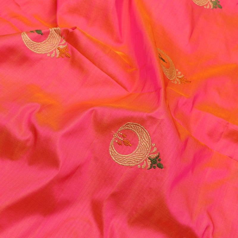 Handwoven Rani Pink Chand Bali Banarasi Silk Unstitched Fabric - WIIAM141 - Fabric View