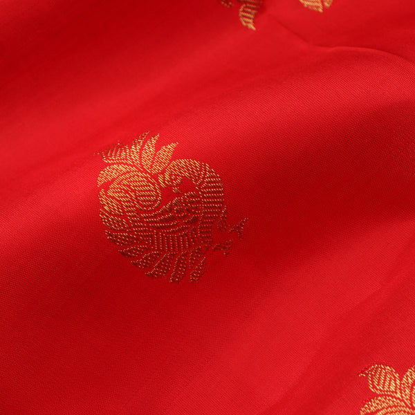 Handwoven Red & Gold Kanjivaram Silk Sari - WIICS020 - Fabric View
