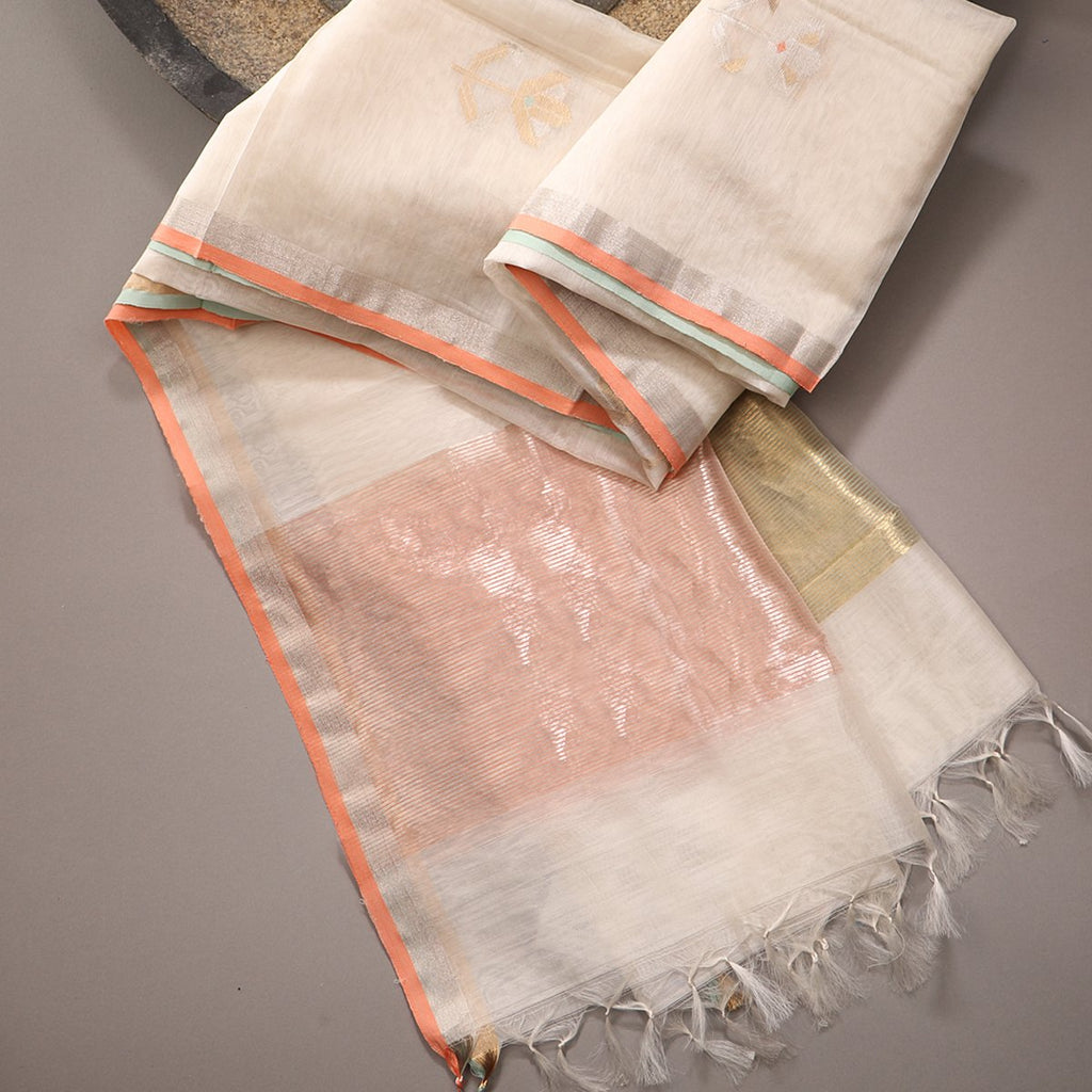 Handwoven Ecru Silk Cotton Chanderi Dupatta - WIIAPRI CWMD 2 - Cover View