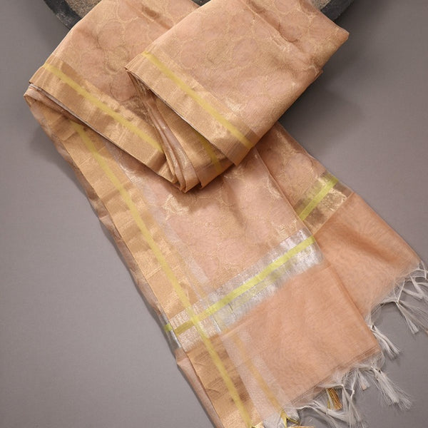 Handwoven Peach Silk Cotton Chanderi Dupatta - WIIAPRI CFJD 001 - Cover View