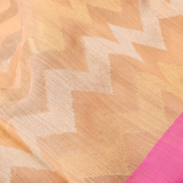 Handwoven Peach Silk Cotton Chanderi Sari - WIIAPRI CFJS(5) - Fabric View