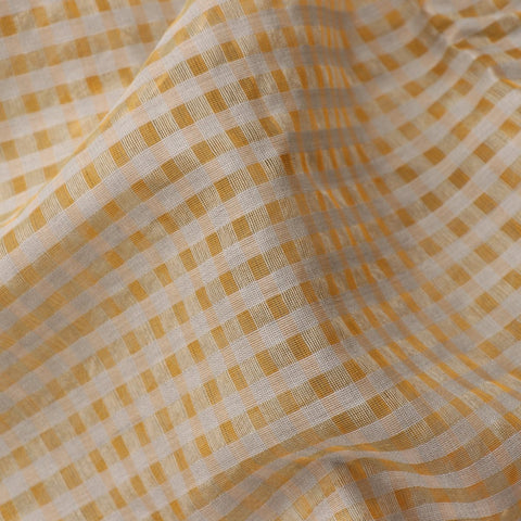 HANDWOVEN YELLOW CHANDERI SILK SARI-WIIAPRICCSR01- Fabric View