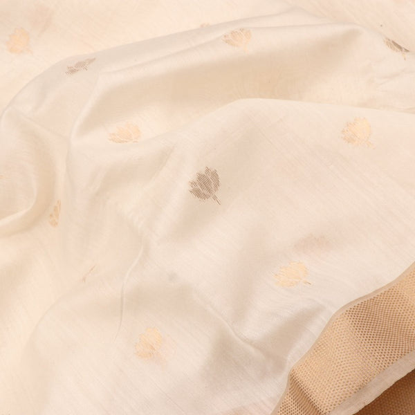Handwoven Offwhite And Gold Butta Work Jamdani Unstitched Silk Fabric - WIIMARMWMF - Fabric View
