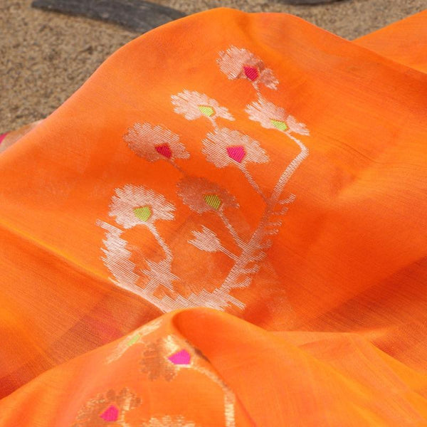 Handwoven Bright Orange Silk Cotton Chanderi Dupatta - WIIAPRI CWMD 6 - Fabric View