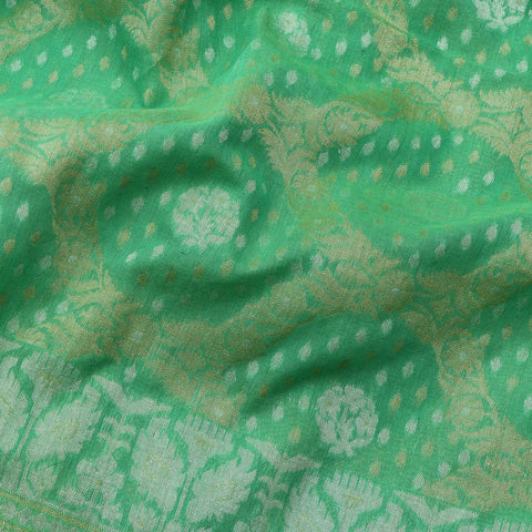 Handwoven Parrot Green Banarasi Muslin Cotton Sari-WIIGS045-Fabric View