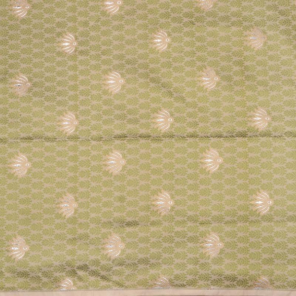Handwoven Green And Beige Banarasi Butta Work Unstiched Silk Fabric - WIIRJ11276049 - Full View