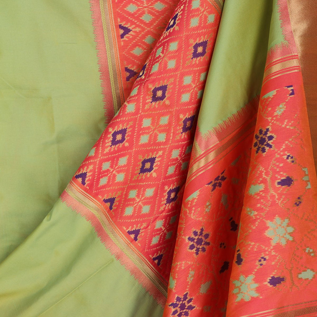 Handwoven Mint Green Single Ikat Rajkot Dupatta - WIISHNIKARIDNAM0089 - Cover  View
