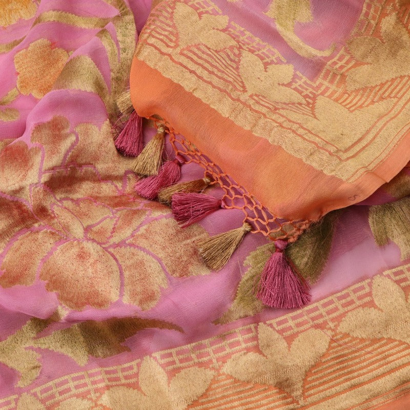 Handwoven Pink Pure Gerogette Brush Dyed Dupatta - WIISHNIKARIDNAM0095 - Cover View