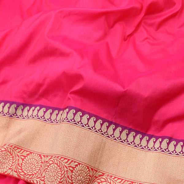 Handwoven Rani Pink Banarasi Border Unstitched Silk Fabric - WIIRJ11271012 - Fabric View