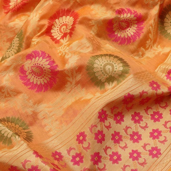 Handwoven Coral Orange Kora Banarasi Silk Sari - WIISHNIKARIDNAM048 - Fabric View