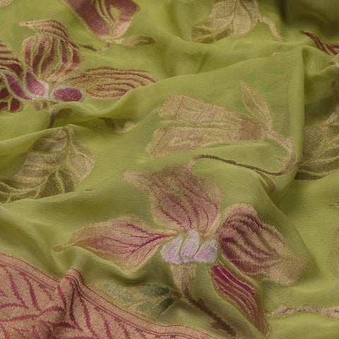 Handwoven Banarasi Lime Green Pure Silk Georgette Sari - WIISDT1938 02 - Fabric View