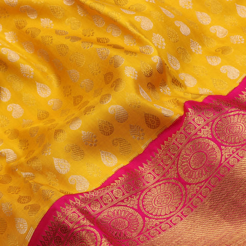 Handwoven Sunshine Yellow Kanjivaram Silk Sari - WIIARIDNAM063 - Fabric View