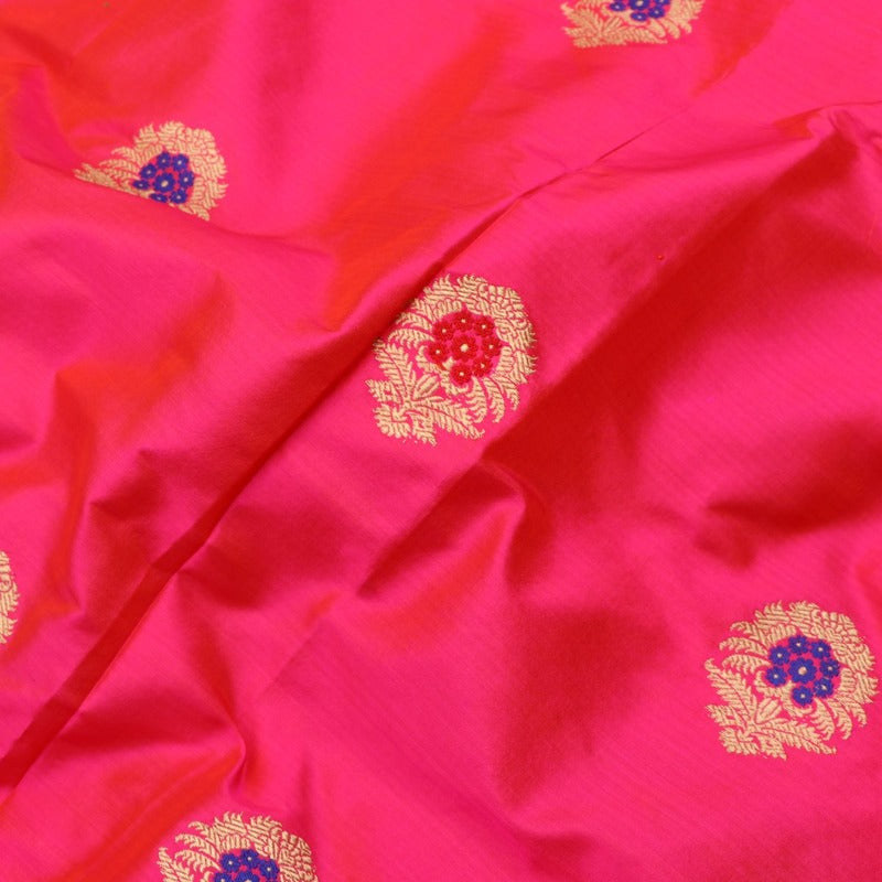 Handwoven Rani Pink Banarasi Silk Unstitched Fabric - WIIAM0089 1 - Fabric View