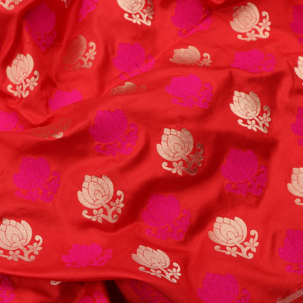 Handwoven Chilli Red Banarasi Silk Unstitched Fabric - WIIRJ0090 - Fabric View