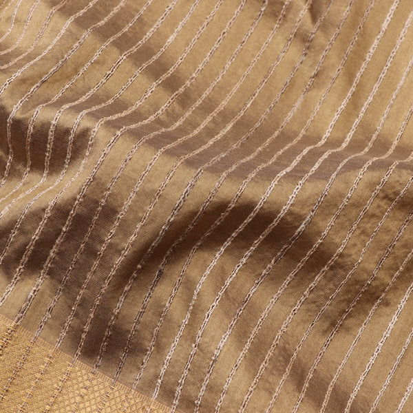 Handwoven Greenish Cream Textured Maheshwari Silk Cotton Sari-WIIGS038- Fabric View