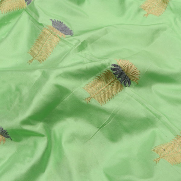 Handwoven Mint Gold Grey Banarsi Silk Unstitched Fabric - WIIAM0089 7 - Fabric View