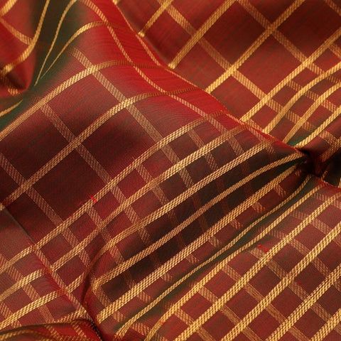 Handwoven Crimson Red and Green Kanjivaram Muhuratham Silk Sari - WIIARIDNAM078 - Fabric View