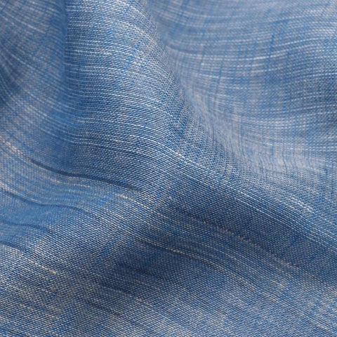 HANDWOVEN ASH BLUE LINEN SARI-WIIGS054- Fabric View