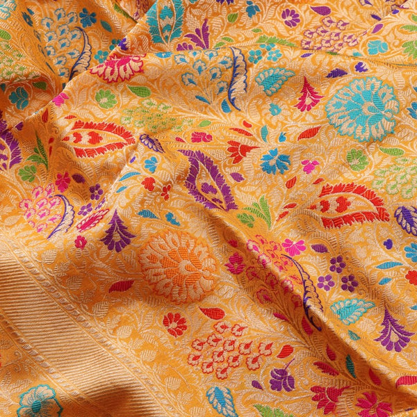 Handwoven Multicolour Khimkhab Banarasi Silk Sari - WIIEDT1152 02 - Fabric View
