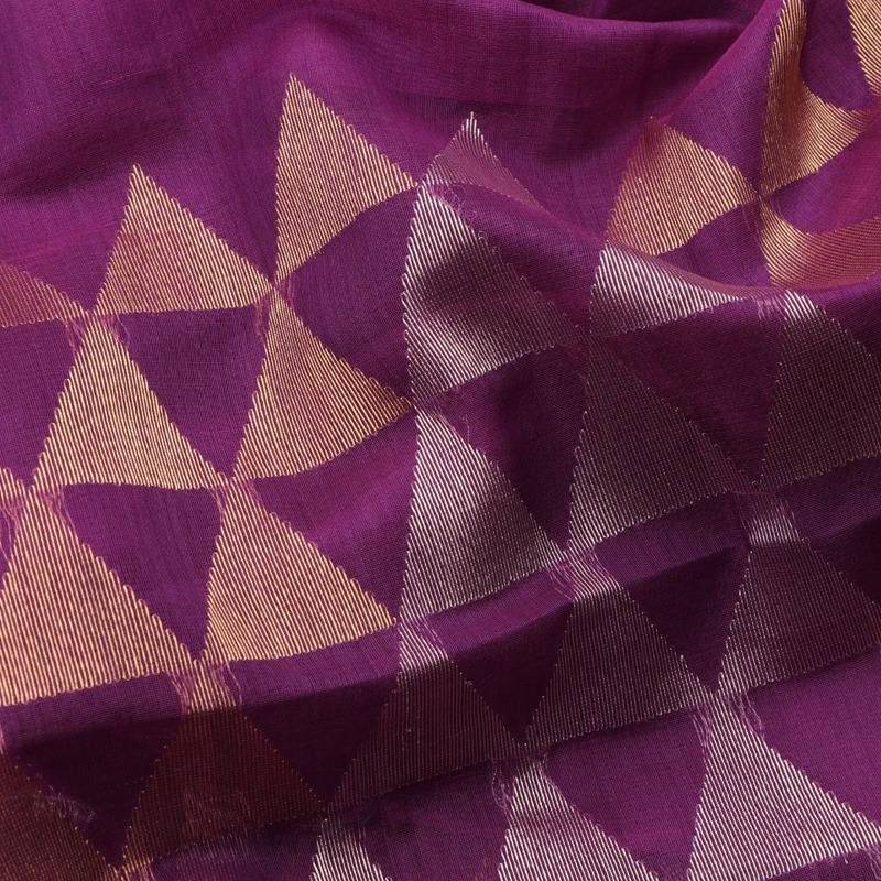 Handwoven Aubergine Purple Jamdani Silk Unstitched Fabric - WIIMARMKJWF - Fabric View