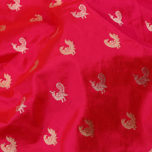 Handwoven Crimson Red Banarasi Silk Sari - WIIBT0087 - Fabric View