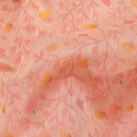 HANDWOVEN SALMON PINK CHANDERI COTTON SARI-WIIAPRICPSR03- Fabric View