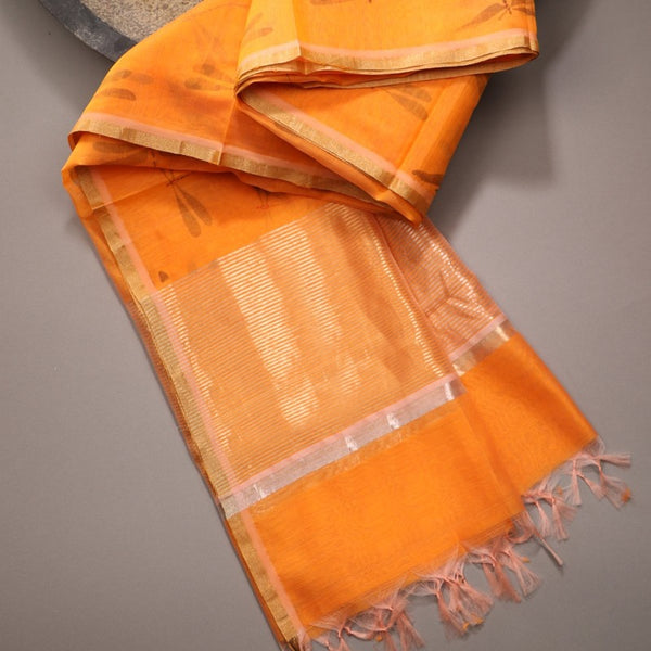Handwoven Saffron Orange Silk Cotton Chanderi Dupatta - WIIAPRI CCPD - E - Cover View