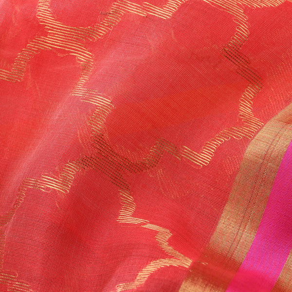 Handwoven Coral Pink Silk Cotton Chanderi Sari - WIIAPRI CFJS(4) - Fabric View