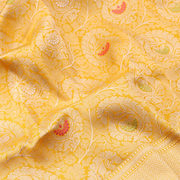 Handwoven Sunshine Yellow Banarasi Silk Sari - WIIRJ101 - Fabric View
