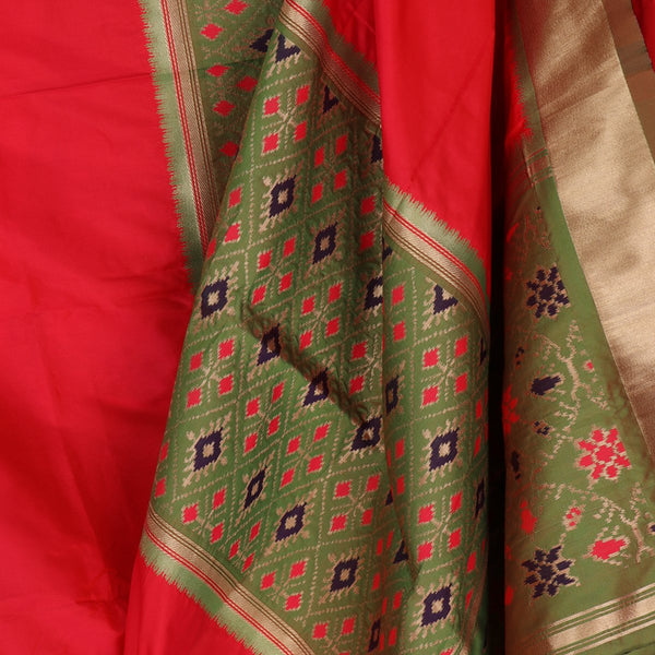 Handwoven Crimson Red Rajkot Single Ikat Dupatta  - WIISHNIKARIDNAM0091 - Cover View