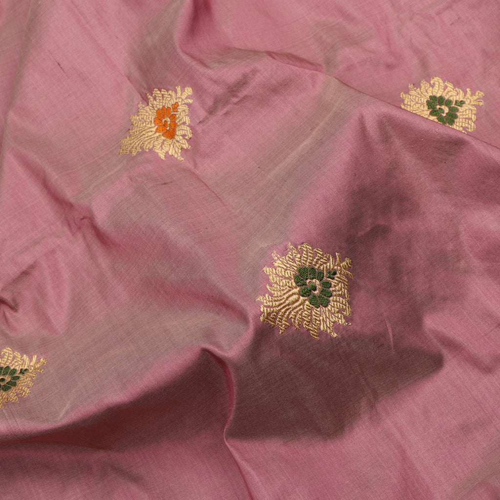 Handwoven Onion Pink Banarasi Silk Unstitched Fabric - WIIAM0089 12 - Fabric View