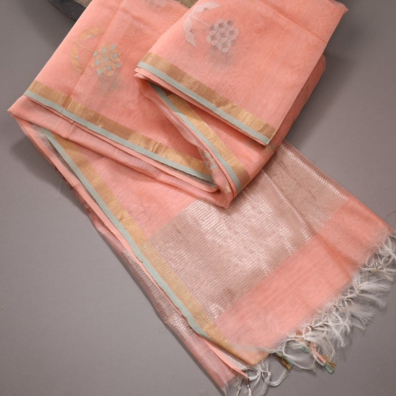 Handwoven Peach Silk Cotton Chanderi Dupatta - WIIAPRI CWMD 3 - Cover View
