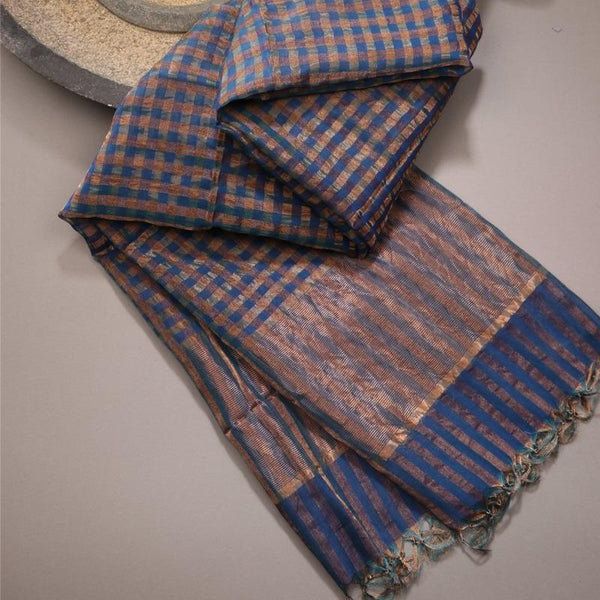 Handwoven Gold and Navy Blue Checks Silk Cotton Chanderi Dupatta - WIIAPRI CCSD 02 - Cover View