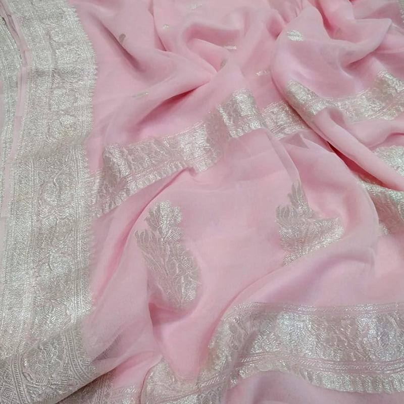 Powder Pink Khaddi Georgette Silk Saree