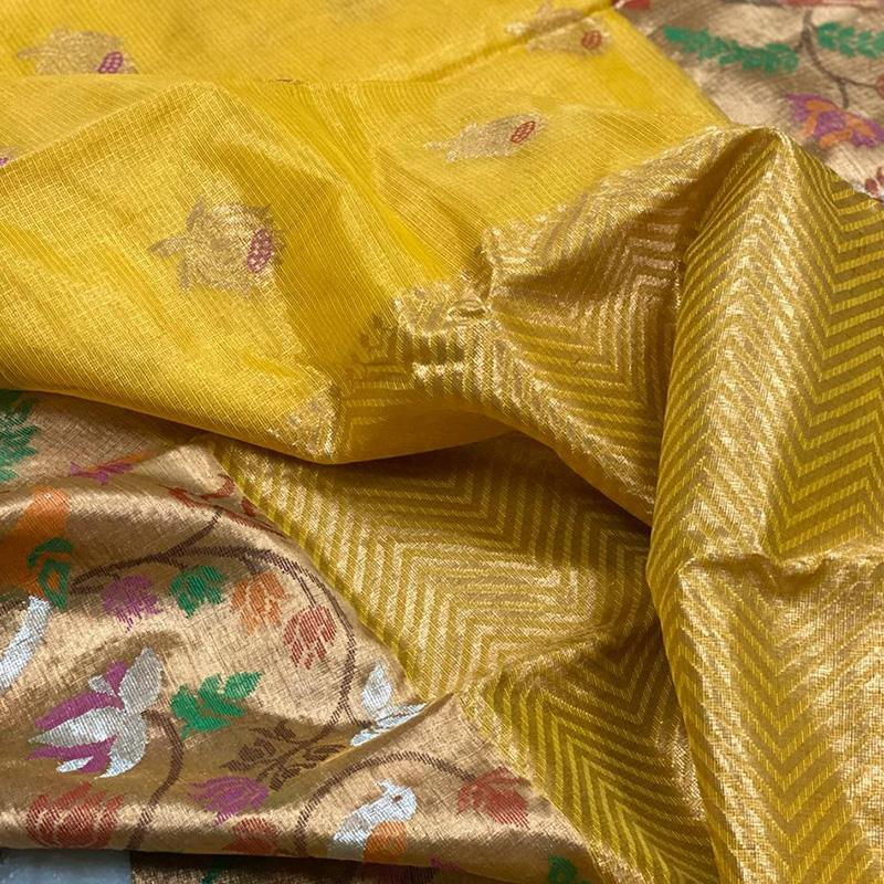Yellow Kota Silk Saree - WeaveinIndia