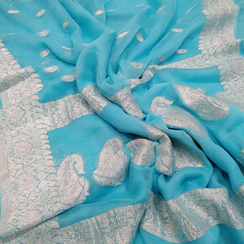 Turquoise Blue Khaddi Georgette Silk Saree