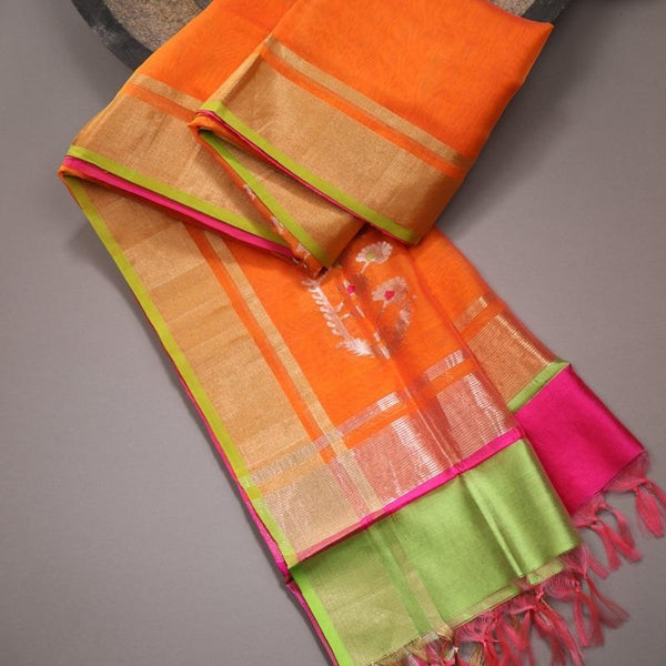 Handwoven Bright Orange Silk Cotton Chanderi Dupatta - WIIAPRI CWMD 6 - Cover View