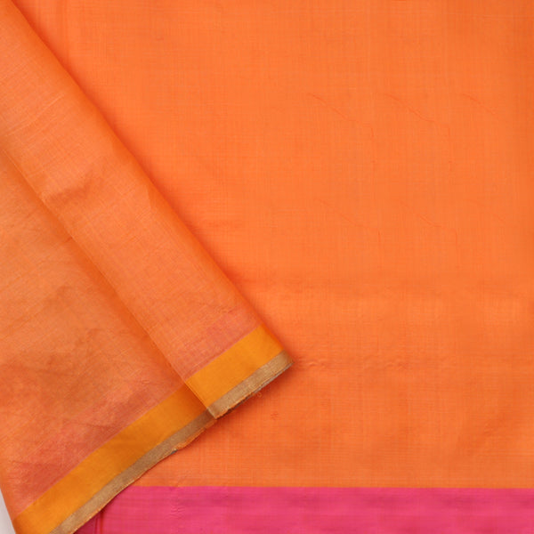 Handwoven Peach Silk Cotton Chanderi Sari - WIIAPRI CFJS(5) - Blouse View