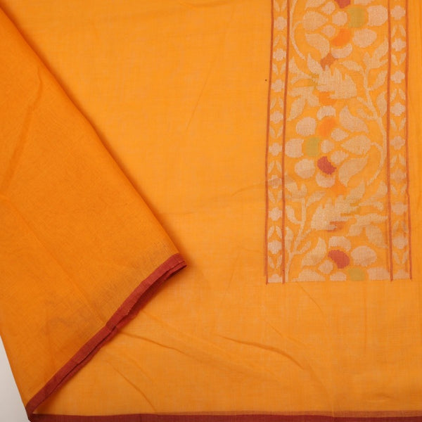 Handwoven Sunset Orange Silk Cotton Jamdani Sari - WIIRJ0147 - Blouse View