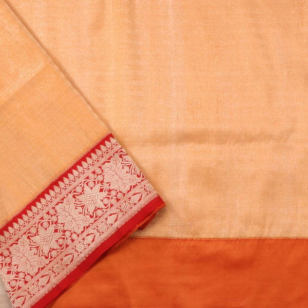 Handwoven Muskmelon Orange Banarasi Silk Sari - WIISDT0186(A) - Blouse View