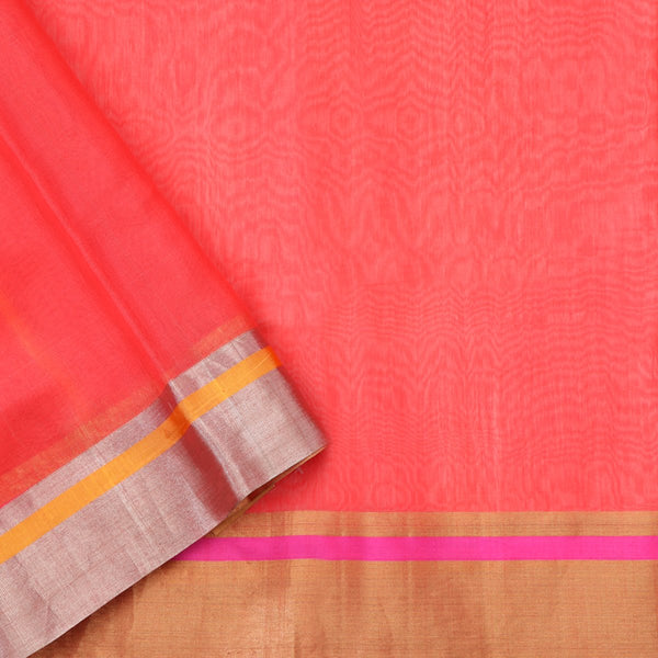 Handwoven Coral Pink Silk Cotton Chanderi Sari - WIIAPRI CFJS(4) - Blouse View