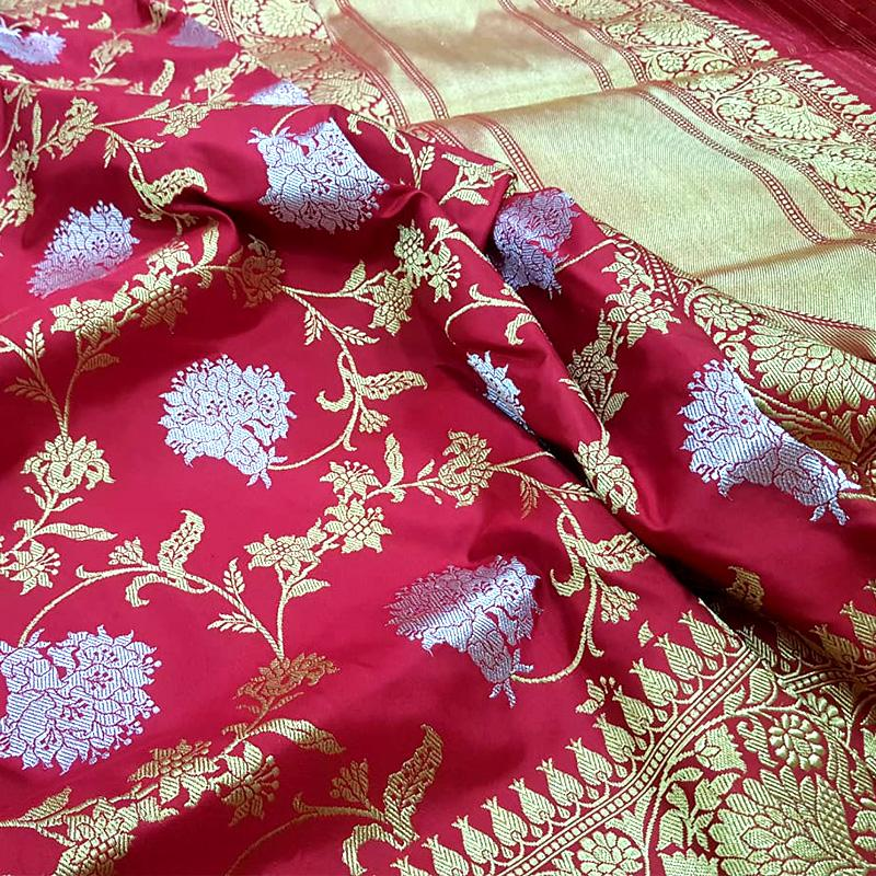 Brick-red Banarasi Silk Saree - WeaveinIndia