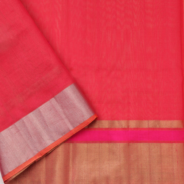 Handwoven Mustard Silk Cotton Chanderi Sari - WIIAPRI CFJS(3) - Blouse View