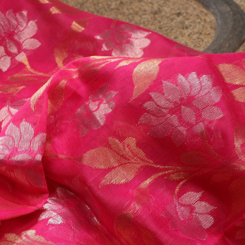 Handwoven Ecru Foliate Printed Silk Cotton Dupatta - WIIAPRI CFJD 005 - Fabric View