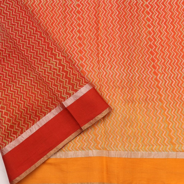 Handwoven Tangerine Orange Printed Silk Cotton Chanderi Sari - WIIAPRI CPSR0005 - Blouse View