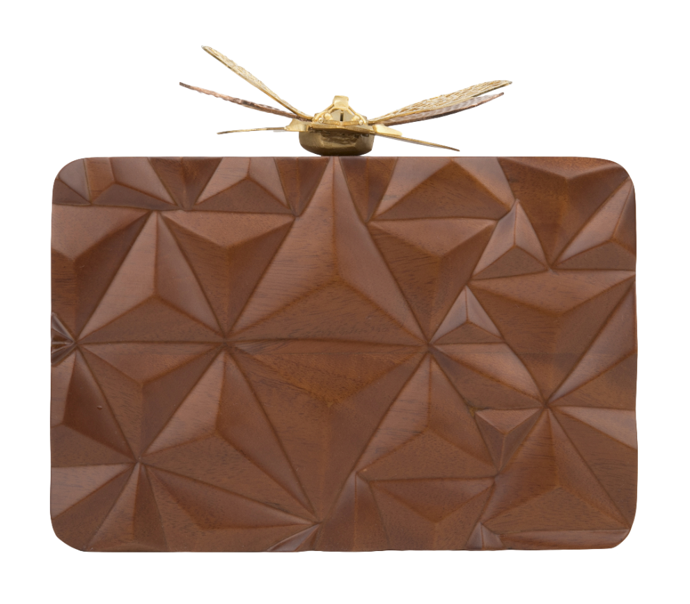 Duet Luxury Triangle Wooden Dragonfly clutch